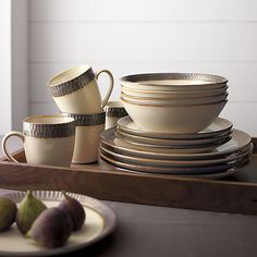 Scavo Dinnerware | Crate and Barrel & Signature Living Dinnerware Signal Hill Burgundy 16 Piece Set Web ...