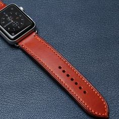 Handmade Apple Watch strap in Light brown colour with orange stitching. #apple #applewatch #leatherwatchstrap #watchstrap #watchband #watches #handmade #handstitched #praha #prague #leathergood #menstyle #manfashion #rolex #omega #panerai #hodinky #reminek #pasek #rucniprace #igerscz #igraczech #instaczech #vscocze #pavelhlavka