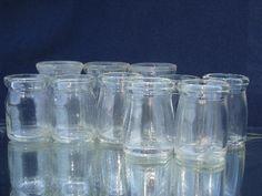 mini glass cream bottles, lot old individual creamers, vintage restaurant ware