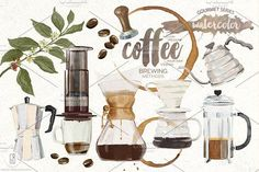 Watercolor coffee brewing methods by GrafikBoutique on @creativemarket