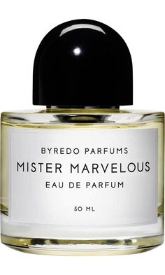 Byredo Mister Marvelous: With the launch of Mister Marvelous, Byredo's founder, Ben Gorham, has chosen to highlight a male figure who currently embodies his idea of this fragrance. The first ever Mister Marvelous features world renowned hair stylist Christiaan Houtenbos. Notes of Mandarin leaves, neroli flower, green lavender, bamboo, black amber and white cedarwood. —Barneys