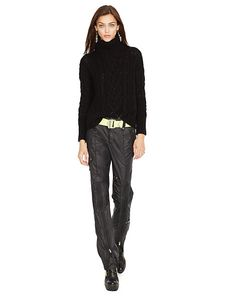 Turtleneck Sweater: This chunky Aran-knit sweater is crafted from a plush merino wool blend and features a relaxed, boxy silhouette. - Turtlenecks  Sweaters - RalphLauren.com