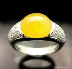 White Gold Diamond with Yellow Jade Ring - - eternityjade (Hong Kong Trading Company) - Jade Jewelry - Jewelry Products - Jade Jewelry, Jewelry Accessories, Jade Ring, White Jade, Jade Stone, Lavender Color, Mellow Yellow, White Gold Diamonds, Hong Kong