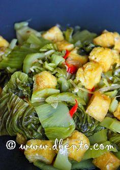 Bento Mania: Resep sayur asin tumis tahu dan ebi