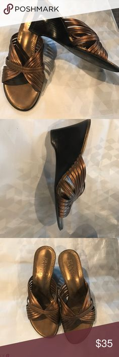 """Franco Sarto copper wedges Size 5.5 copper leather wedges with very dark brown 3"""" wedge. Worn only once or twice Franco Sarto Shoes Wedges"""
