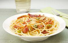 Espaguete com Bacon e Pimentão