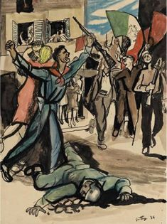 Artwork by Renato Guttuso, Manifestazione, Made of ink and watercolor on paperRenato Guttuso Manifestazione , 1944 ink and watercolor on paper Dimensions: cm Signed. Italian Painters, Italian Artist, Social Realism, Realism Art, Baroque Fashion, Renoir, Modern Art, Auction, Watercolor