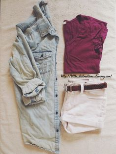 Chambray shirt, white shorts, burgundy tee. Cute summer outfit.