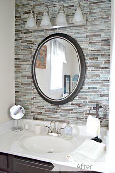 The Life of Jennifer Dawn: Bathroom Remdodel Painting Light Fixtures, Bathroom Light Fixtures, Bathroom Lighting, Target Bathroom Accessories, Diy Bathroom Remodel, Bathroom Ideas, Mirror Wall Tiles, Master Bathroom, Bathroom Mirrors