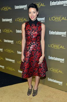 Aubrey Plaza Print Dress - Aubrey Plaza looked oh-so-charming in a red and black floral dress at the Entertainment Weekly pre-Emmy party.