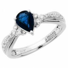 Amoro 14k White Gold Sapphire and Diamond Ring (0.16 cttw, H Color, SI2 Clarity)