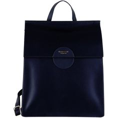 Radley Elms Leather Backpack, Midnight Blue (£199) ❤ liked on Polyvore featuring bags, backpacks, leather daypack, decorating bags, shoulder strap bags, leather backpacks and radley