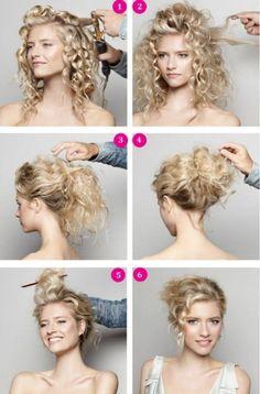 coiffure facile à faire cheveux frisés chignon décoiffé
