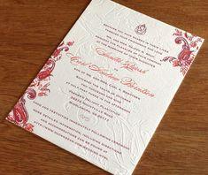 Sindhu letterpress wedding invitation design