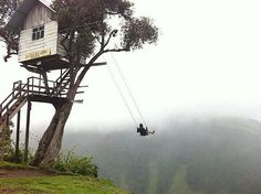 Weekend Cabin: A tiny treehouse just 2.5 kilometers from an active volcano...with a badass swing, too. http://www.adventure-journal.com/2014/04/weekend-cabin-casa-del-arbol-banos-ecuador/