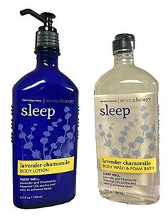 Bath & Body Works Aromatherapy Sleep Lavender Chamomile Bundle with 10 Oz Body Wash / Foam Bath and 6.5 Oz Body Lotion