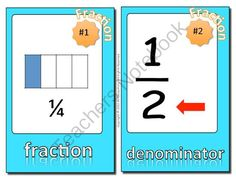 Fractions Vocabulary Word Wall from Common Core and More! on TeachersNotebook.com -  (16 pages)  - This is a set of 24 fractions vocabulary cards with words and pictures to post in your classroom on a fractions word wall or bulletin board.