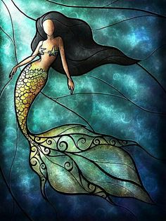 ♥ Mermaid stained glass piece ♥ This isnt usually my type of piece, but its beautiful and it draws me in...♥ I think this may be my next project!