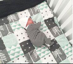 Minze-grau und schwarz Patchwork Baby Decke-2 Größen