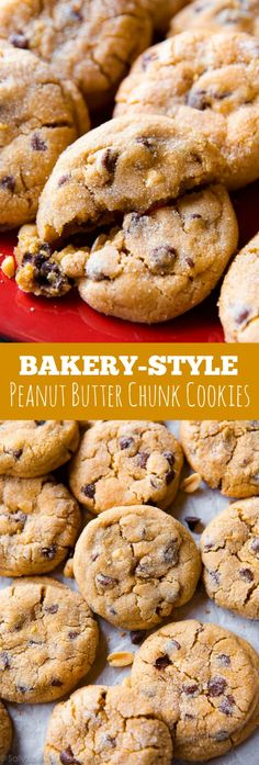 These cookies have double the amount of peanut butter for incredible flavor and texture! Bakery-style cookie copycat recipe on sallysbakingaddiction.com