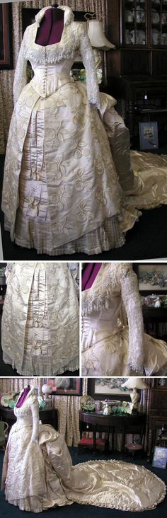 Wedding gown ca. 1880s. Heavy ivory silk, beads. Silk-lined bodice has net sleeves trimmed with cream-colored bugle beads and pearls. Originally in the collection of the Brooklyn Museum. svpmeow1/ebay