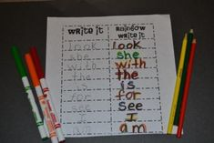 A Kindergarten Writing Center in Action. Tons on great ideas at this site!!