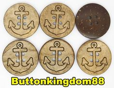 10pc 48L 30mm REAL COCONUT SHELL ENGRAVE ANCHOR HAWAIIAN BUTTON  CRAFT