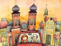 Cartoons & illustrated characters: Roth Aniko city illustration City Illustration, Everyday Objects, Cartoons, Characters, Illustrations, Painting, Color, Cartoon, Cartoon Movies