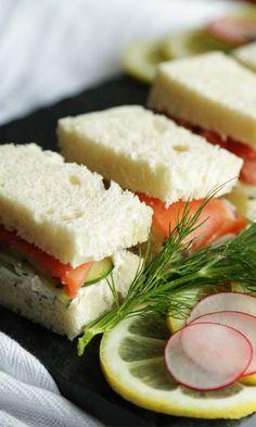 Smoked Salmon Tea Sandwich Recipe with cucumber, radish and dill cream cheese.