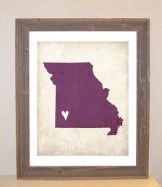 Missouri Love State Customizable Art Print by mereleemade on Etsy, $16.00