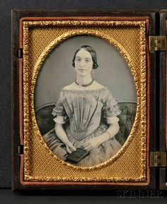 Quarter Plate Daguerreotype of a Young Woman Holding a Union Case | Sale Number 2567B, Lot Number 2 | Skinner Auctioneers