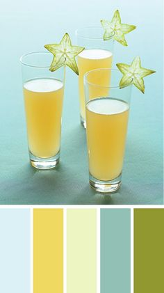 pale blue sky- upper part of the background (it's a pale, pale sky blue) - 220.241.246  pineapple juice- the drink (it's a bright golden yellow) - 239.217.96  starfruit flesh- light inner part of the starfruit (it's a pale, pale green) - 237.245.195  starry teal- the darker part of the background, in between the three glasses (it's a teal that's more blue than green) - 146.192.181  unripened starfruit-(it's a darkish green that's in between an olive and a lime) 146.152.48