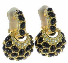 Kenneth Jay Lane Gold-tone Black Hoop Earrings w/ Charm #KennethJayLane #Hoop