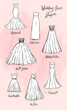 You Ever Wanted to Know About Wedding Dress Silhouettes The most stylish wedding dress shapes that will make you feel extra beautiful on your special day.The most stylish wedding dress shapes that will make you feel extra beautiful on your special day.