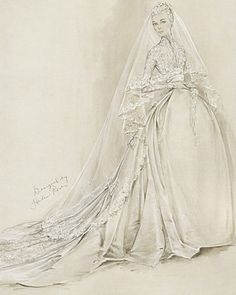Sketch of a Wedding Dress for Grace Kelly by Helen Rose 1956 who was an Academy Award Winning Designer. The dress for her marriage to Prince Rainer III was constructed by the MGM wardrobe department.    (1) Tumblr