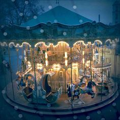 Winter Carousel - Paris - retro styled photography by Elisabeth Perotin