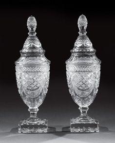 Pair of Anglo-Irish Cut Glass Sweetmeat Urns : Lot 1268