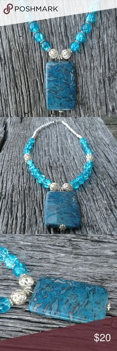 Necklace Beautiful natural stone focal with blue crackle glass beads and silver accents. Handmade Jewelry Necklaces