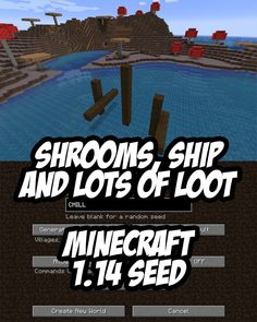 Grab the amazing loot in this rare Minecraft Seed that spawns on th edge of a mushroom field beside a shipwreck and near buried treasure!