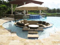 Lounge in the pool without getting wet! Perfect for guests who don't want to swim at a pool party. >> http://www.hgtvremodels.com/outdoors/dreamy-pool-design-ideas/pictures/index.html?soc=pinterest