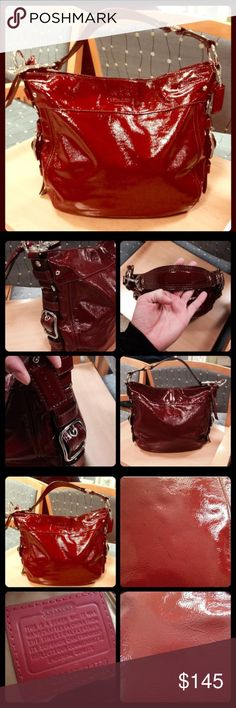Coach Handbag Authentic. Red patent leather. Large. Great condition other than a pen mark which is shown in pictures but hardly noticeable. Coach Bags Hobos