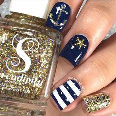 Nautical Summer Nail Design by @nails.by.teens; check it out at http://www.nailitmag.com/nail-art-of-the-day/nautical-nails