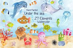 Watercolor sea animals clipart  @creativework247