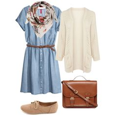 Denim dress, cardigan, scarf - I have this dress :D Skirt Outfits, Fall Outfits, Casual Outfits, Pretty Outfits, Cute Outfits, Preppy Style, My Style, Everyday Fashion, Spring Summer Fashion