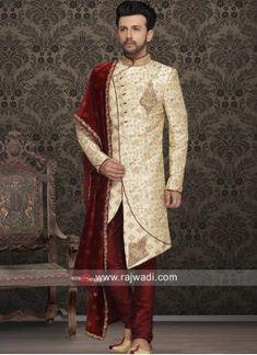 Designer Sherwani With Fancy Buttons. Sherwani For Men Wedding, Wedding Dresses Men Indian, Mens Sherwani, Sherwani Groom, Wedding Dress Men, Wedding Men, Indian Groom Wear, Indian Wear, Indian Male