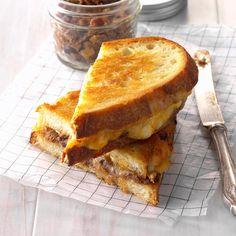 Gourmet Grilled Cheese with Date-Bacon Jam Recipe -This sandwich doubles up on melty cheese, but the star of the show is the sweet and salty date-bacon jam. It makes for a truly grown-up version of grilled cheese. —Kathy Cooper, Tucson, Arizona