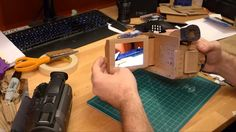Cardboard video camera when finished, I love the idea of having cellophane for the lens Cardboard Camera, Cardboard Sculpture, Byzantine Icons, Video Camera, Art Projects, Retro, Phone, Paper Paper, Photography