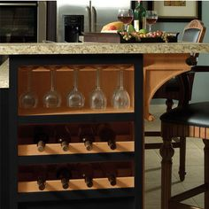Stemware Rack in Kitchen Island