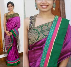 Purple raw silk with brocade, semi brocade and semi raw silk borders. Pallu- Striped net Blouse - green printed semi silk fabric