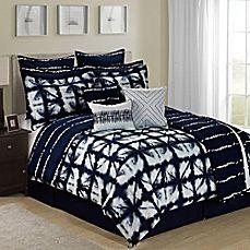 image of Tie Dye Reversible 12-Piece Comforter Set in Navy/White